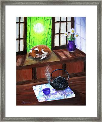 Spring Morning Tea Framed Print by Laura Iverson