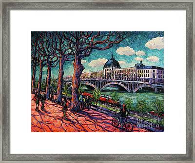 Spring On The Banks Of The Rhone - Lyon France - Modern Impressionist Oil Painting By Mona Edulesco Framed Print by Mona Edulesco