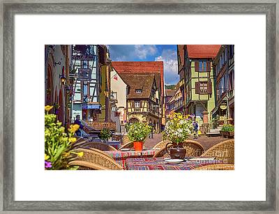 Spring On The Street, Riquewihr, France, Hdr Framed Print