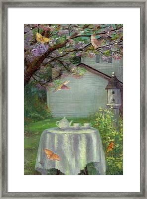 Spring Orchard Teatime Framed Print