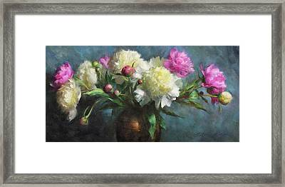 Spring Peonies Framed Print by Anna Rose Bain