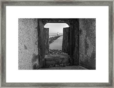 Spring Point Ledge Light House Bw Framed Print
