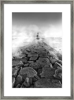 Spring Point Ledge Light Sea Smoke Bw Framed Print by Susan Candelario