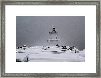 Spring Point Ledge Lighthouse Blizzard Framed Print