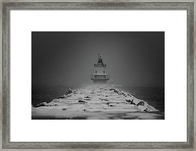 Spring Point Ledge Lighthouse Blizzard In Black N White Framed Print