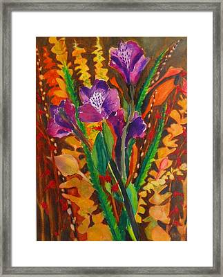 Spring Purple Bouquet Framed Print by Henny Dagenais