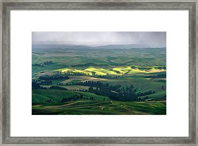 Spring Rain Falls On The Palouse Framed Print by Jerry McCollum