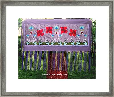 Framed Print featuring the tapestry - textile Spring Rising by Chholing Taha