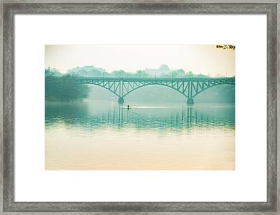 Framed Print featuring the photograph Spring - Rowing Under The Strawberry Mansion Bridge by Bill Cannon