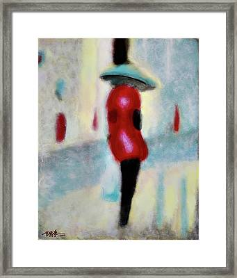 Spring Showers And Shopping Framed Print by Steve Park