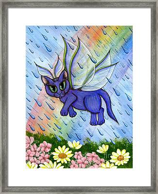 Framed Print featuring the painting Spring Showers Fairy Cat by Carrie Hawks