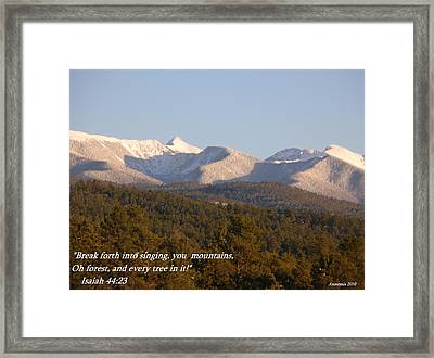 Framed Print featuring the photograph Spring Snow On The Sangre De Cristos Truchas Peaks by Anastasia Savage Ealy