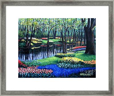 Framed Print featuring the painting Spring Splendor Tulip Garden by Patricia L Davidson
