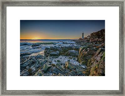 Spring Sunrise At Portland Head Framed Print by Rick Berk