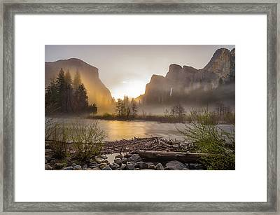 Framed Print featuring the photograph Spring Sunrise Valley View Yosemite National Park  by Scott McGuire