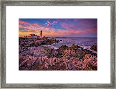 Spring Sunset At Portland Head Lighthouse Framed Print by Rick Berk