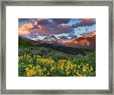 Spring Sunset In The Tetons Framed Print
