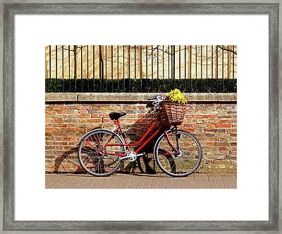 Framed Print featuring the photograph Spring Sunshine And Shadows - Bicycle In Cambridge by Gill Billington