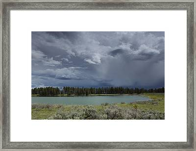 Spring Thunderstorm At Yellowstone Framed Print