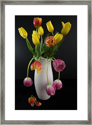 Spring Tulips In Vase Framed Print