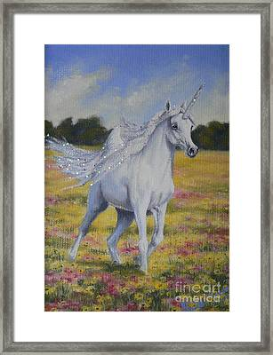 Spring Unicorn Framed Print by Louise Green