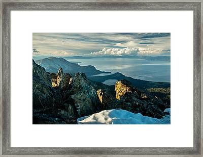 Spring View From The Top Of Mount Tallac Framed Print by Mike  Herron