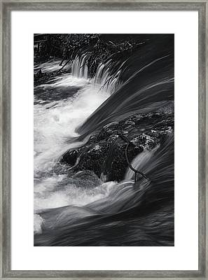 Spring Water Stream Black And White Framed Print by Jenny Rainbow