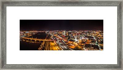 Framed Print featuring the photograph Springfield Massachusetts Night Long Exposure Panorama by Petr Hejl