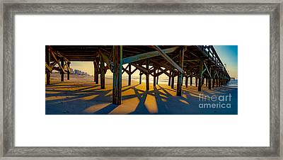 Springmaid Pier At Sunrise Framed Print