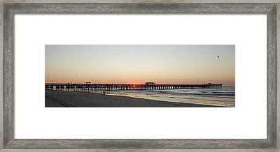 Springmaid Pier Sunrise Framed Print by Gordon Mooneyhan