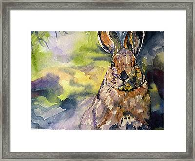Framed Print featuring the painting Springs Almost Hare by P Maure Bausch
