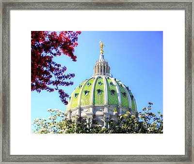 Framed Print featuring the photograph Spring's Arrival At The Pennsylvania Capitol by Shelley Neff