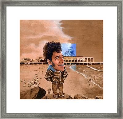 Springsteen On The Beach Framed Print