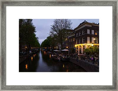 Springtime Amsterdam - Canalside Restaurant With A Terrace In Jordaan Framed Print by Georgia Mizuleva