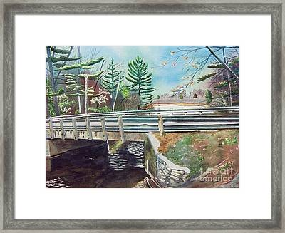Framed Print featuring the painting Springtime At Bass Lake Bridge by LeAnne Sowa