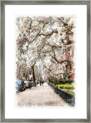Springtime Boston Back Bay Framed Print by Edward Fielding