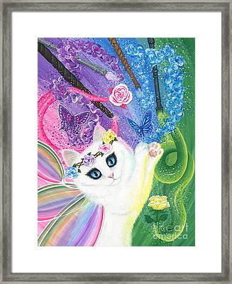 Framed Print featuring the painting Springtime Magic - White Fairy Cat by Carrie Hawks