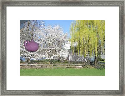 Springtime Outside Our House Framed Print by Deborah Finley