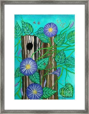 Springtime Purple Morning Glories Framed Print by Janet Hinshaw