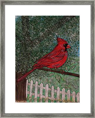 Framed Print featuring the painting Springtime Red Cardinal by Kathy Marrs Chandler