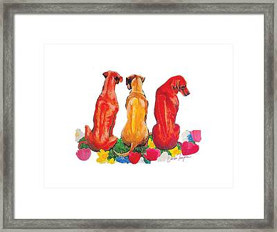 Springtime Ridgebacks Framed Print by Leisa Temple