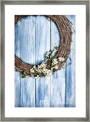 Springtime Wreath Framed Print by Amanda Elwell