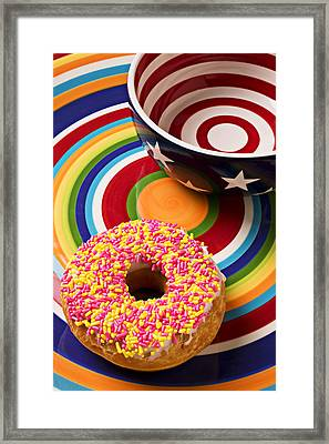 Sprinkled Donut On Circle Plate With Bowl Framed Print by Garry Gay