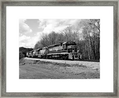 Sprintime Train In Black And White Framed Print