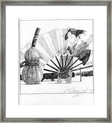 Spirit Of Japan. Pumpkin Jar And Fan Framed Print