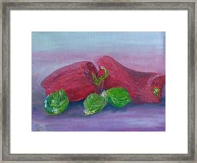 Sprouts And Peppers Framed Print