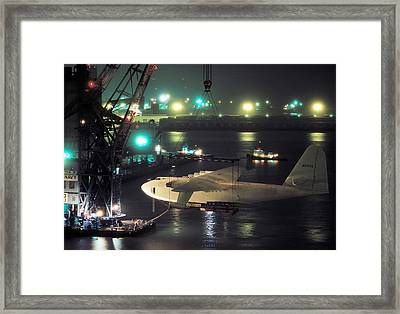 Spruce Goose Hanging From Crane February 10 1982 Framed Print