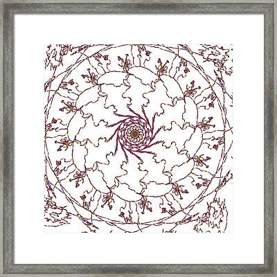 Spun Floral Red 1 Framed Print by Catherine Lott