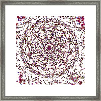 Spun Floral Red 2 Framed Print by Catherine Lott