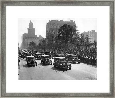 Squad Cars In Police Parade Framed Print by Underwood Archives